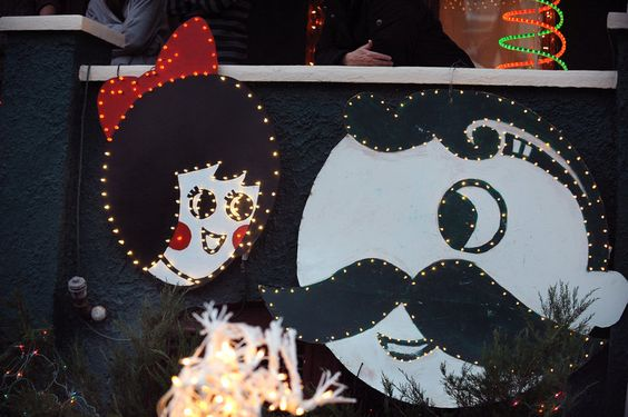 Shown is Steve Saada's Natty Boh and the Utz Girl-themed Christmas display, at his home on 34th street in Hampden.