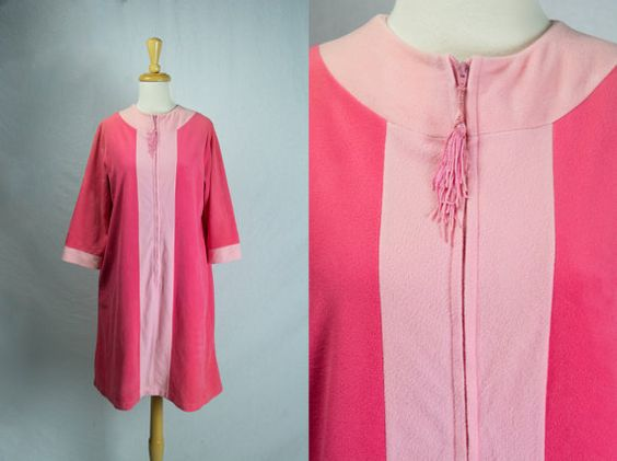 by madvintage : Mod Vintage Color Block Robe Hot Pink Tassel Pull