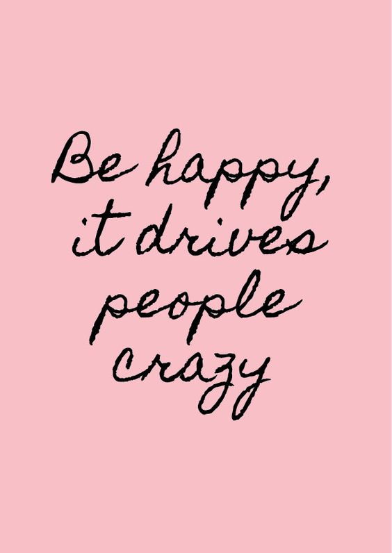 Be happy, it drives people crazy! | More Printable Motivational Handwritten Typography Quote Posters & Inspirational Print-It-Yourself Wall Art Office Contemporary Black Pink and White Decor at http://vermillionwoodsmoke.etsy.com. We ship worldwide!: