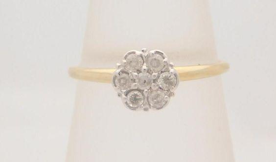 0.25 CARAT T.W. LADIES ROUND CUT DIAMOND CLUSTER RING 10K YELLOW GOLD #1958 #Cluster