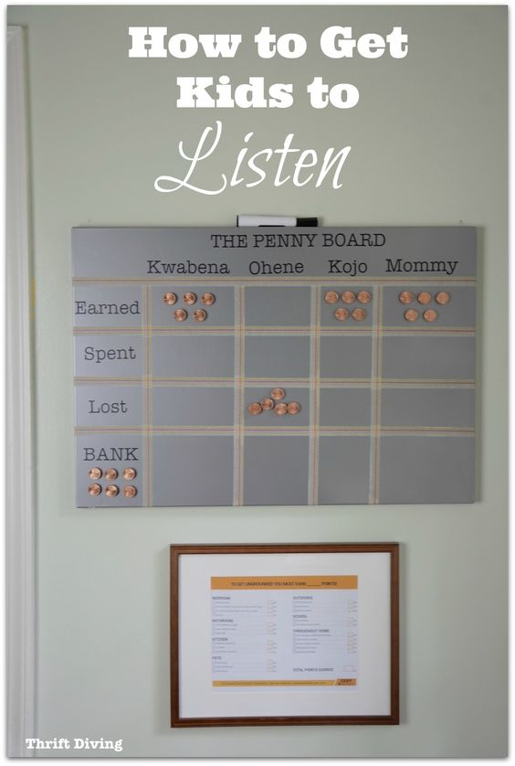 How to Get Kids to Listen Using the Penny Method - Use this DIY behavior chart and method to create more structure in life at home! You're guaranteed to yell less, limit screen time for your kids, and help them get ungrounded if they do misbehave! Full tutorial and video on the blog. Thrift Diving