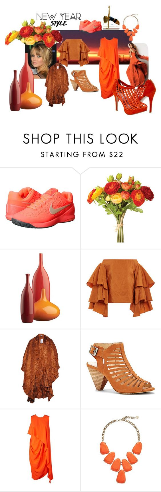 """orange new year"" by srlangley on Polyvore featuring NIKE, OKA, CB2, Rosie Assoulin, Vince Camuto, Kenzo and Kendra Scott"