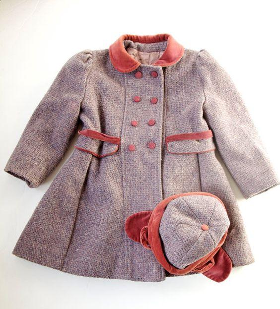 Vintage Girls Coat & Hat Fancy Toddler Overcoat Tweed and Velvet