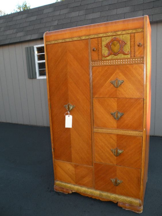 Antique Art Deco Waterfall Armoire Wardrobe Closet 375