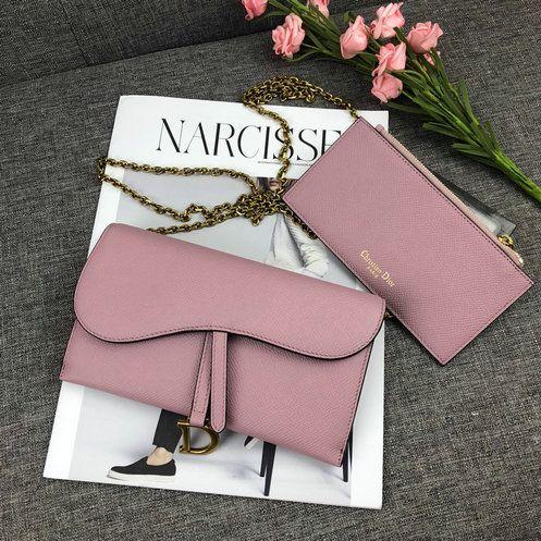2018 Dior Saddle Wallet On Chain In Embossed Grained Calfskin Leather Dior Saddle Bag Wallet Handbag Outlet