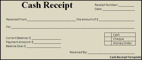 Cash Payment Receipt Template Free Cash Receipt Template - cash invoice