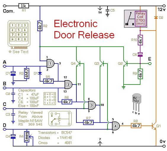 circuit diagram, electronics and doors on, schematic