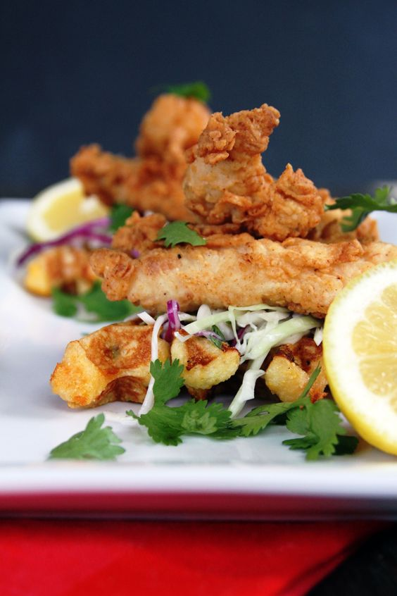 ... Fried Chicken Tenders with Cilantro Slaw & Jalapeno Cheddar Waffles