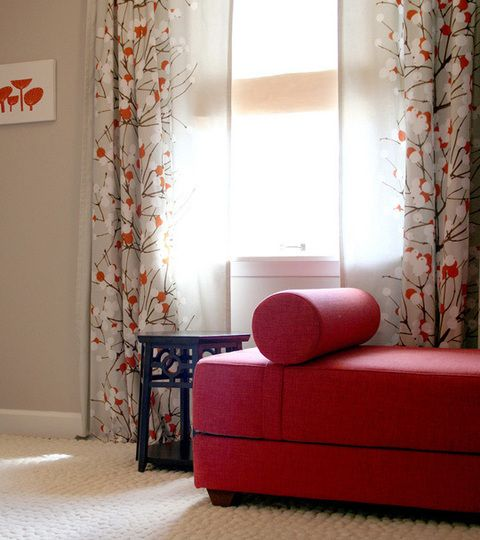 Curtains To Match A Red Couch....love It! And The Gray