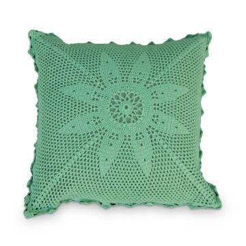 Capa Almofada Crochê Verde_Decorando Online