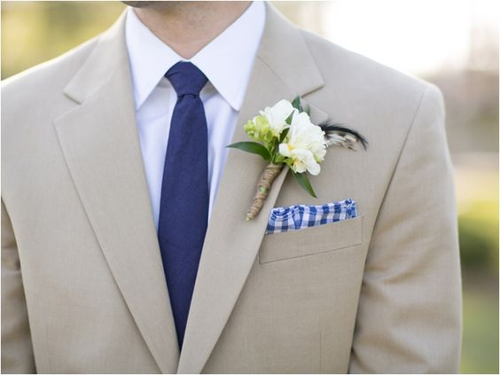 Beige, white, and navy blue suit combination ~ Photo: Sarah ...