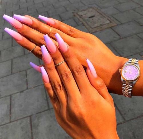 Acrylic Nails Coffin Purple Ombre Nails Ombre Nail Polish Coffin Nails Long
