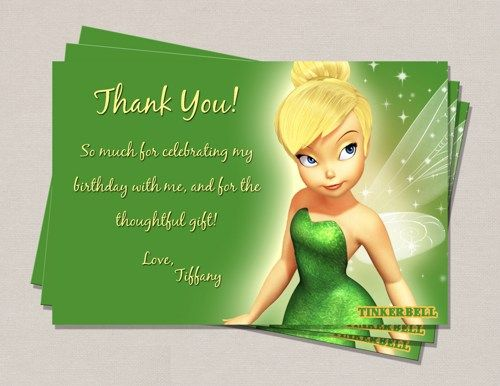 Tinkerbell Birthday Thank You Card – Tinkerbell Birthday Card