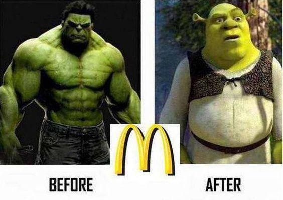 Hulk po obědě ve fastfoodu