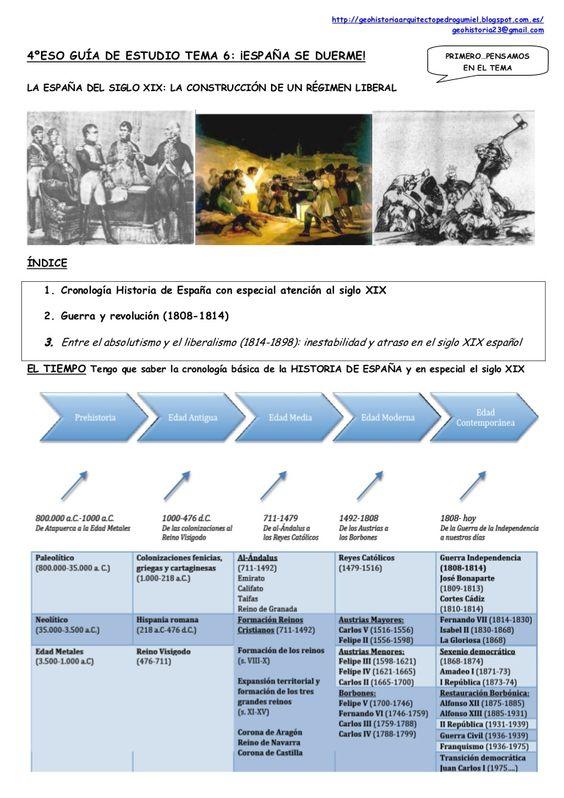http://geohistoriaarquitectopedrogumiel.blogspot.com.es/ geohistoria23@gmail.com LA ESPAÑA DEL SIGLO XIX: LA CONSTRUCCIÓN DE UN RÉGIMEN LIBERAL 4ºESO GUÍA DE E…