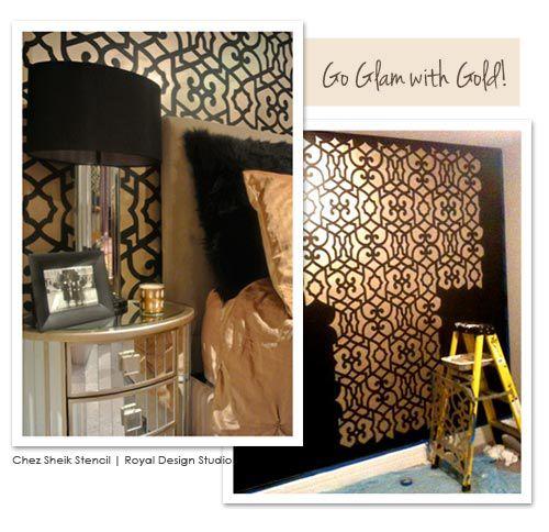 Moroccan wall stencil in gold for glam wallpaper look | http://www.royaldesignstudio.com/