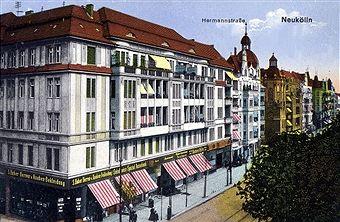Berlin Rixdorf 1900-Die Hermannstrasse in Hoehe Muenchenerstrasse (heute Flughafenstrasse)