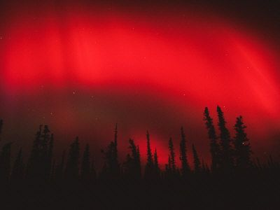 Red Aurora Borealis, Alaska. The rarest and most stunning of the colors in the Northern Lights.
