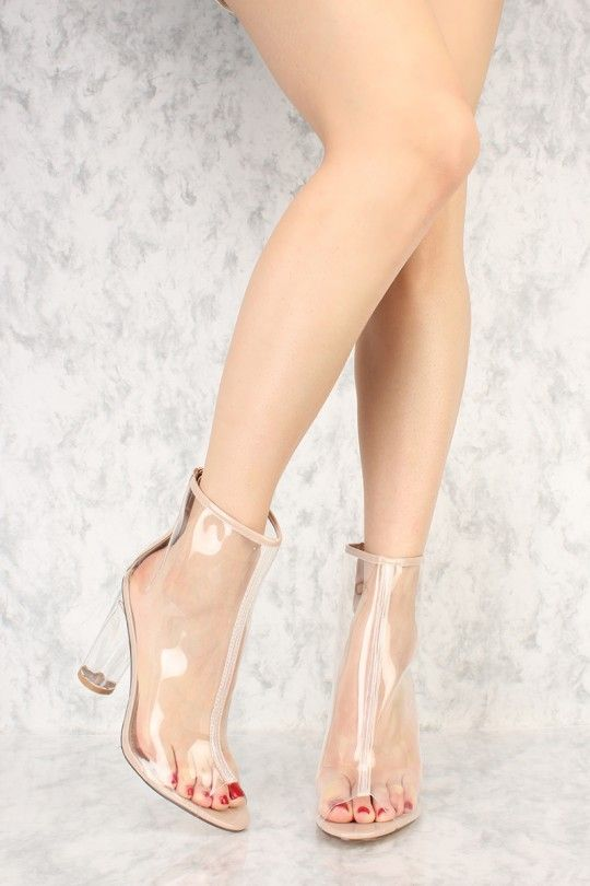 Transparent Peep Toe Round Clear Chunky Heel Booties Patent
