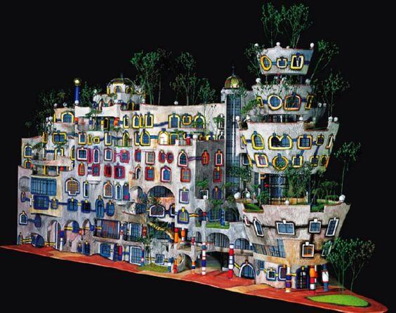 Hundertwasser dresden and models on pinterest for Architecture hundertwasser