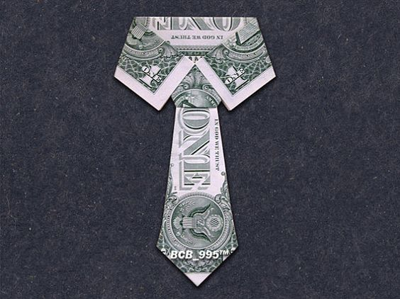COLLAR & TIE Money Origami - Dollar Bill Art: