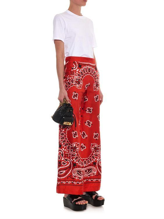 Moschino Bandana-print silk trousers