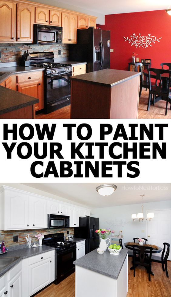 How to paint your kitchen cabinets cabinets white satin - Builder grade oak kitchen cabinets ...