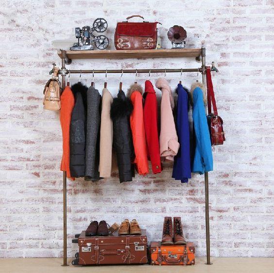 haben die alten schmiedeeisen rohr retro kleiderständer bekleidungsgeschäft verkaufsregalen wandregal anzeige Boden Spalte