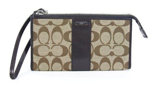 Coach Signature Zippy Wallet Wristlet Khaki Mahogany 48691 khaki/Mahogany. 7 3/4 x 4 1/2.  #Coach #Apparel