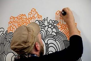 Love this guy's 'vocabulary of line, pattern, and color.' maybe monochromatic or analogous on top?