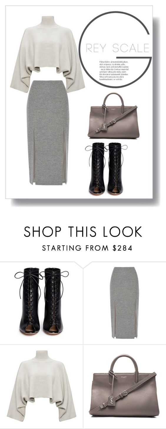 """""""Shades of grey"""" by alexandra-barbu-1 ❤ liked on Polyvore featuring Gianvito Rossi, Wes Gordon, Jaeger, Yves Saint Laurent, women's clothing, women's fashion, women, female, woman and misses"""