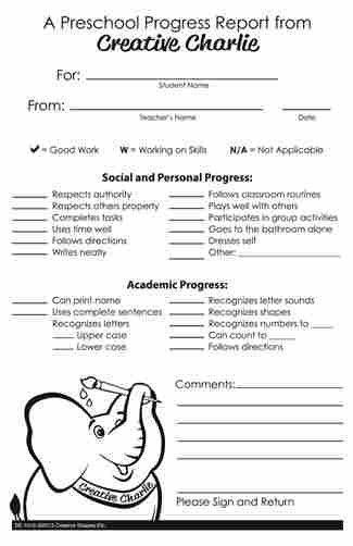 Progress Report Sample For Preschool