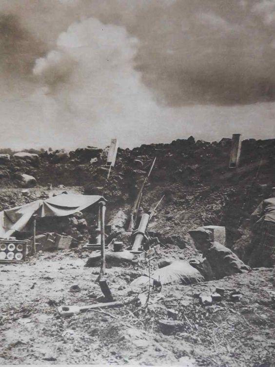 WW1, Battle of Verdun, August 1916; the bursting of a German shell.