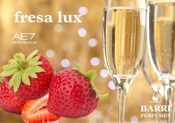 Aroma: Fresa (Strawberry) con Champagne. Ideal para aromaterapia, difusor ultrasónicos, etc. Envase de 15 ml. Ref. FRESA LUX www.tiendabarriperfumes.es