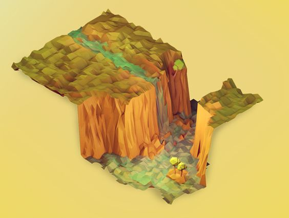 3D Generated Landscape Sculpture Illustrations of Timothy J. Reynolds
