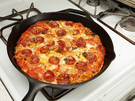 """""""Foolproof Pan Pizza"""" using a castiron skillet - will be making this week"""