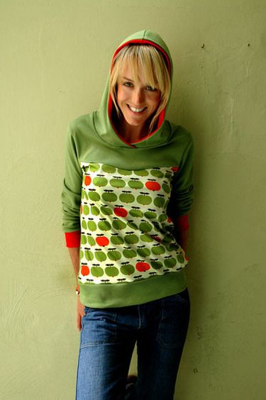 hoodie apple apfel oliv gr n sweater retro damen apples van and hoodie. Black Bedroom Furniture Sets. Home Design Ideas