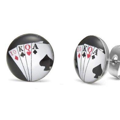 R&B Bijoux - Boucles d'Oreilles Homme - Clous Las Vegas - Cartes Poker Suite Royale - Acier Inoxydable (Argent, Noir, Blanc, Rouge). 9,90€