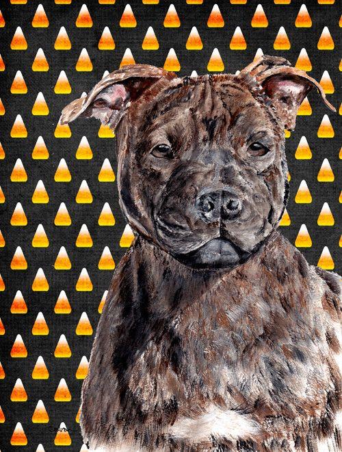 Staffordshire Bull Terrier Staffie Candy Corn Halloween 2 Sided Garden Flag Staffordshire Bull Terrier Bull Terrier Terrier
