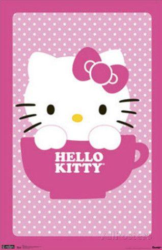 Hello Kitty Teacup Art Print Poster Poster