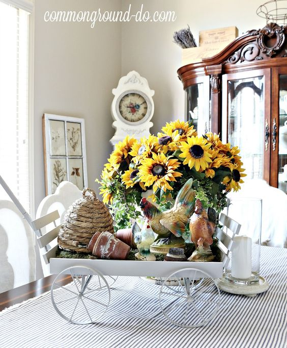 One of my favorite combinations for Summer is Sunflowers and Ticking ... nothing fancy, just rustic and vintage. I thought I'd try somethin...