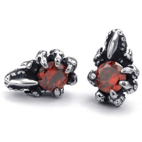 Konov Jewellery Mens Cubic Zirconia Stainless Steel Gothic Dragon Claw Stud Earrings Red Silver