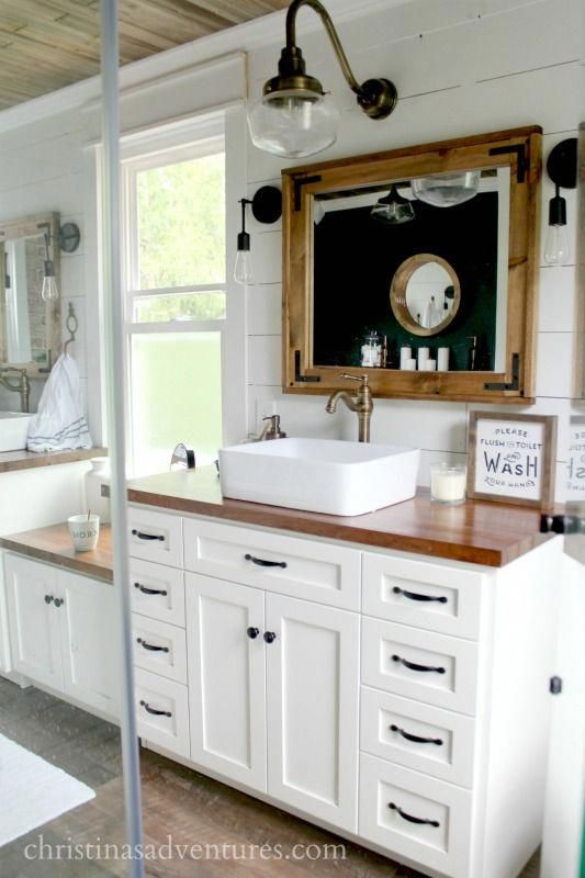Vintage Inspired Farmhouse Bathroom From Glass Shower Butcher