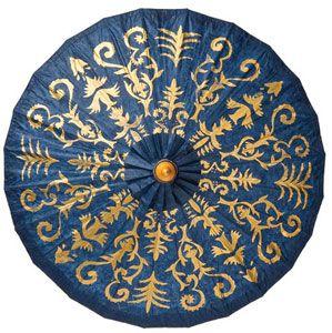 Dark Blue Gilded Parasol (henna design)