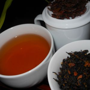 Tea time with a cup of Pumpkin Creme Brulee tea