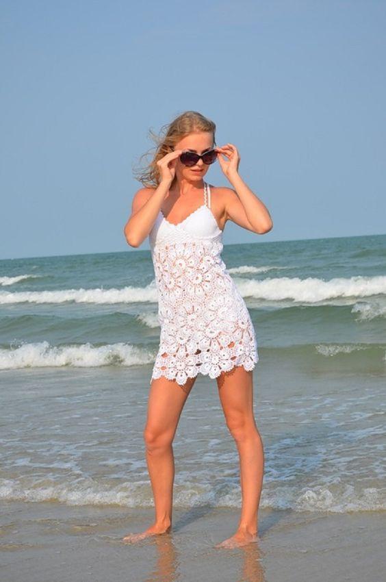 crochelinhasagulhas: Saída de praia branca de crochê