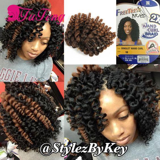 En gros 10 Pouce Baguette Curl Crochet Extensions de Cheveux Ombre Jamaïcain rebond Crotchet Tresses Synthétique