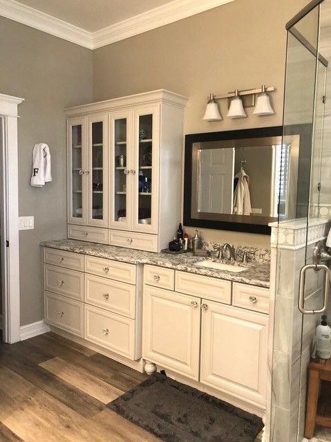 Check Out This Gorgeous Custom Gray Bathroom Built In Soaker