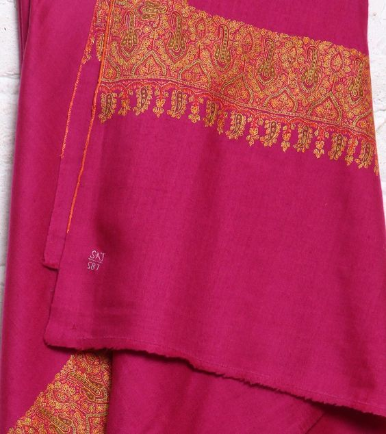 Magenta Pure Pashmina Shawl With Finely Embroidered Border