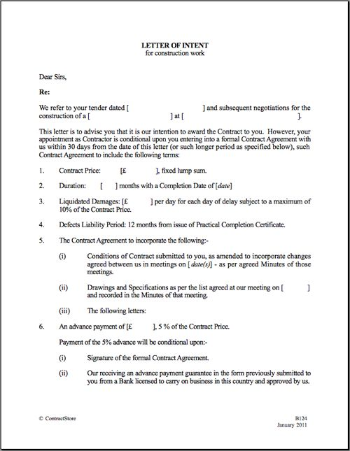 Printable Sample Letter Of Intent Template Form – Letter of Intent to Lease Sample